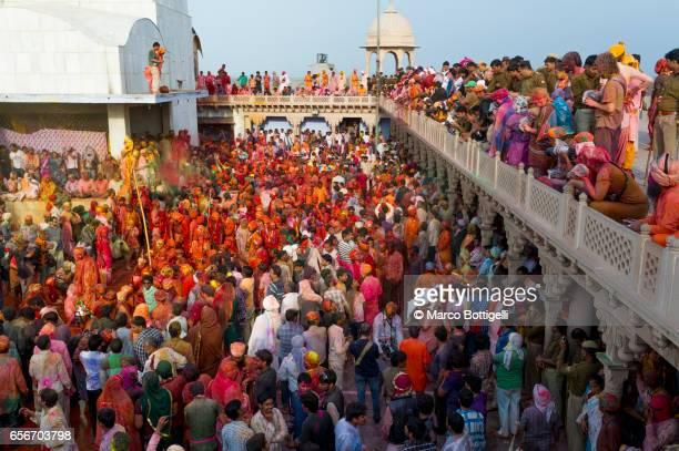 Celebrations of Holi Festival. Mathura, India.