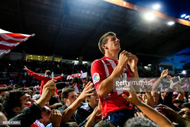 Celebrations of the Girona FC player Pere Pons after certificate his promotion ascent to the La Liga during the Spanish championship La Liga 1|2|3...