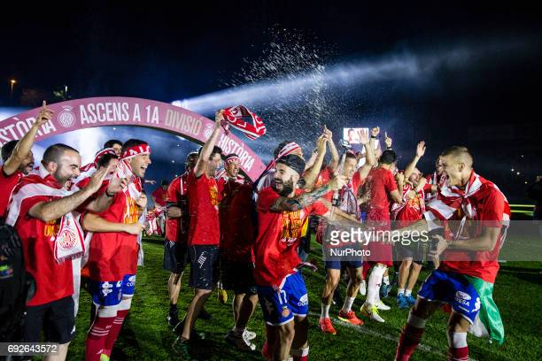 Celebrations of the Girona FC team and supporters after certificate his promotion ascent to the La Liga during the Spanish championship La Liga 1 2 3...