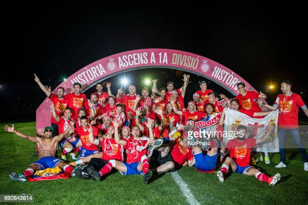 Celebrations of the Girona FC team and supporters after certificate his promotion ascent to the La Liga during the Spanish championship La Liga 1|2|3...