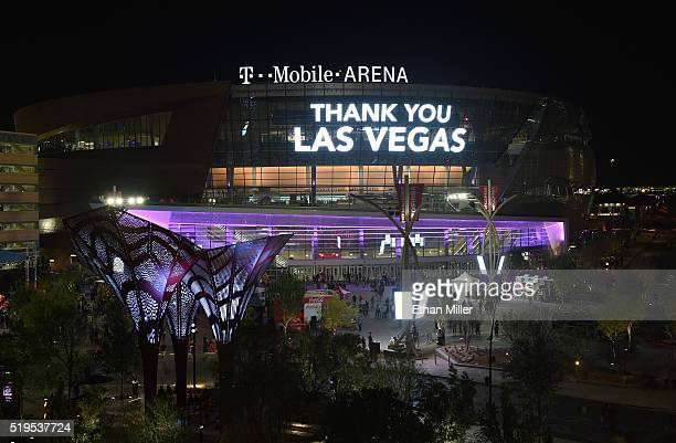 A celebratory message appears on TMobile Arena's video mesh wall after a concert by The Killers during the venue's grand opening on the Las Vegas...