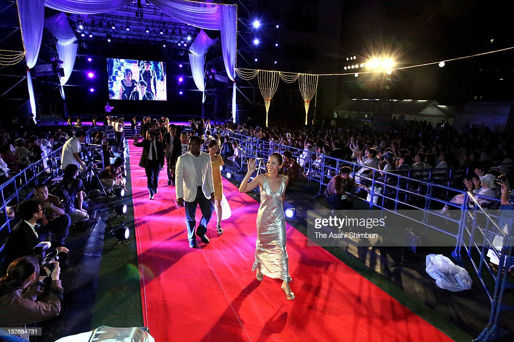 Celebrites from South Korea and China walk on the red carpet during the opening ceremony of the Fukuoka International Film Festival at Fukuoka City Hall on September 14, 2012 in Fukuoka, Japan.