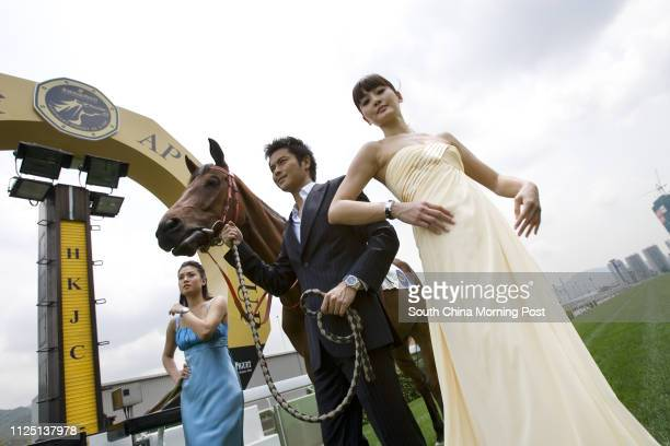 TV celebrities actress Bernice Liu Pikyee actor Kevin Cheng Kawing and model Kathy Chow Mankei model for QE II Cup 2008 at Shatin Racecourse For QEII...