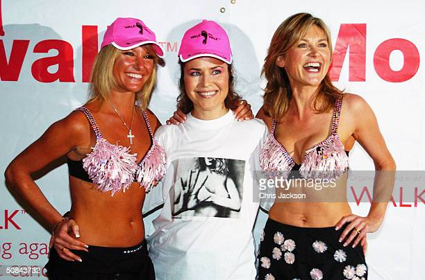 Celebrities Alex Best Koo Stark and Anthea Turner are seen at a photocall for the annual fundraising event Playtex Moonwalk organised by Walk the...