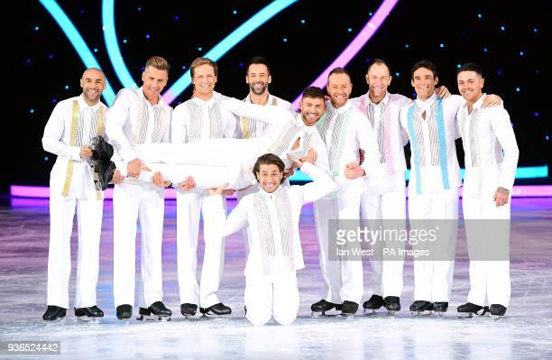 Celebrities and professional skaters Alex Beresford Matt Evers Mark Hanretty Sylvain Longchambon Jake Quickenden Kem Cetinay Dan Whiston Lukasz...