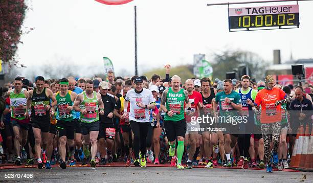 Celebrities and runners start the Virgin London Marathon 2016 on April 24 2016 in London England