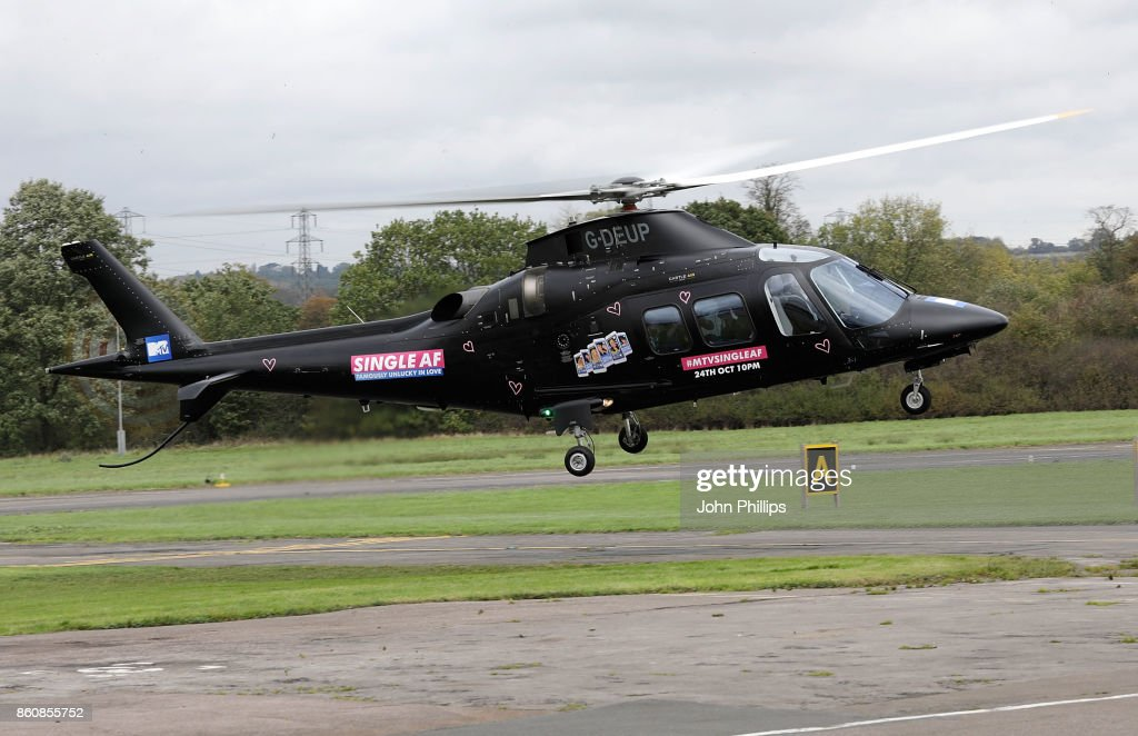 Celebrities arrive by helicopter for the MTV 'Single AF' Photocall at Elstree Studios on October 13, 2017 in Borehamwood, England. Seven celebrities embark on the global hunt for love with the help from their social media followers.