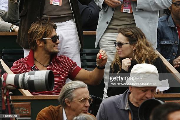 Celebrities at 2008 Roland Garros Tournament In Paris France On June 06 2008Bixente Lizarazu Claire Keim