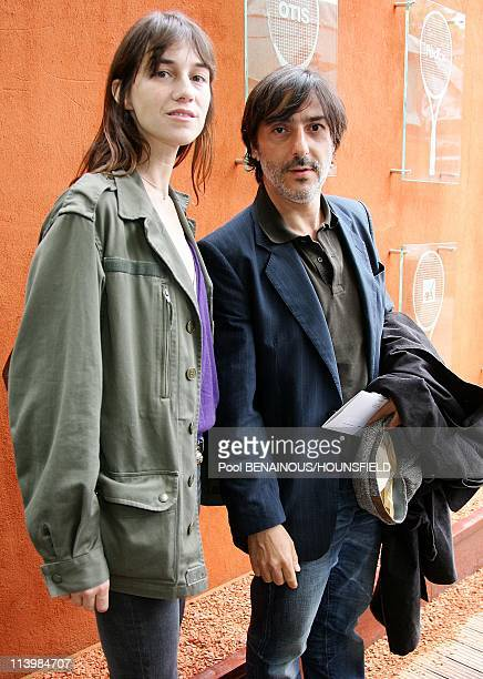 Celebrities at 2008 Roland Garros Tournament In Paris France On June 08 2008Charlotte Gainsbourg and Yvan Attal