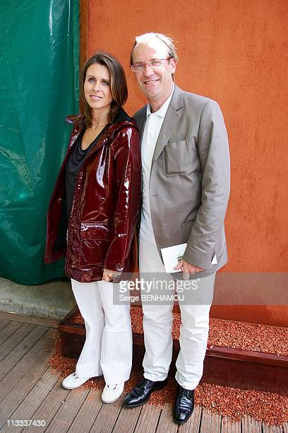 Celebrities At 2008 Roland Garros Tournament In Paris, France On May 28, 2008 - Laurent Fignon and his wife.