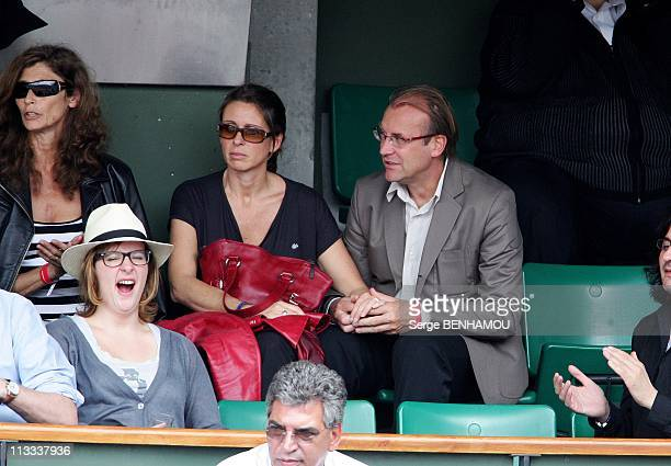 Celebrities At 2008 Roland Garros Tournament In Paris, France On May 25, 2008 - Laurent Fignon and his wife.