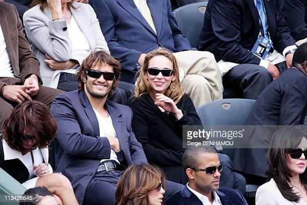Celebrities At 2009 Roland Garros Tournament In Paris France On June 07 2009 Bixente Lizarazu and Claire Keim