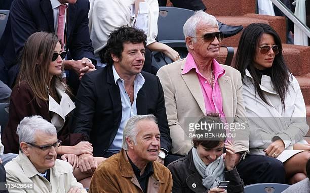 Celebrities At 2009 Roland Garros Tournament In Paris France On June 07 2009 Celine Bosquet Patrick Bruel JeanPaul Belmondo Barbara Gandolfi