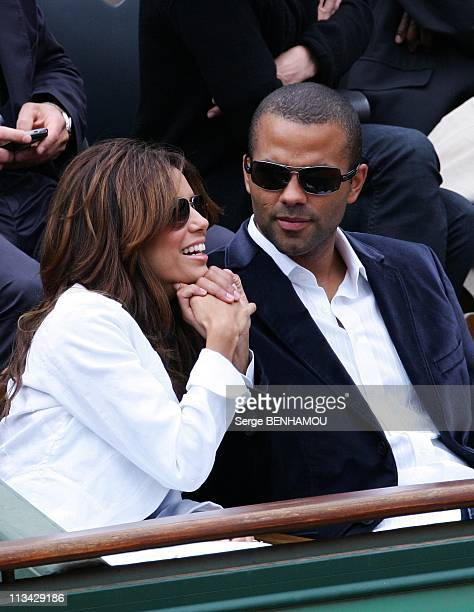 Celebrities At 2009 Roland Garros Tournament In Paris France On June 07 2009 Tony Parker and Eva Longoria