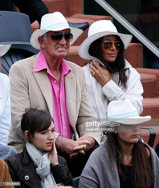 Celebrities At 2009 Roland Garros Tournament In Paris France On June 07 2009 JeanPaul Belmondo and Barbara Gandolfi