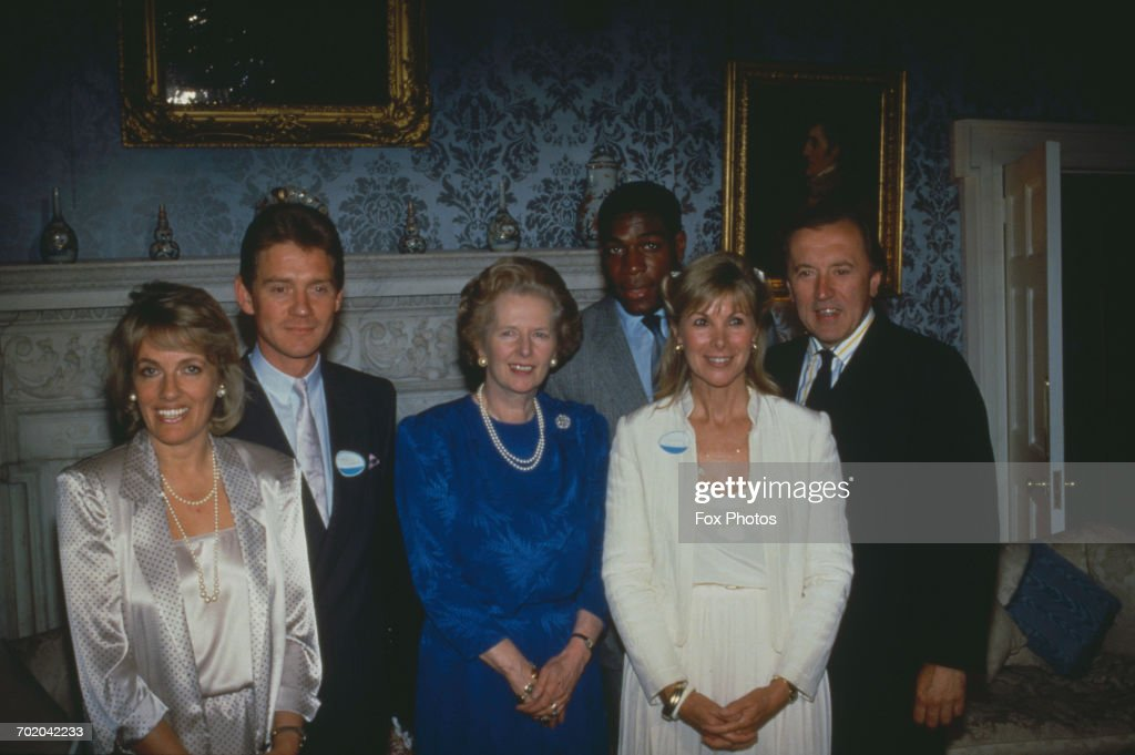 Celebrities at a reception for phone charity Childline at Number 10 Downing Street, London, 2nd July 1987. From left to right, television presenter Esther Rantzen, actor Anthony Andrews, Prime Minister Margaret Thatcher, boxer Frank Bruno, actress Susan Hampshire and journalist David Frost.