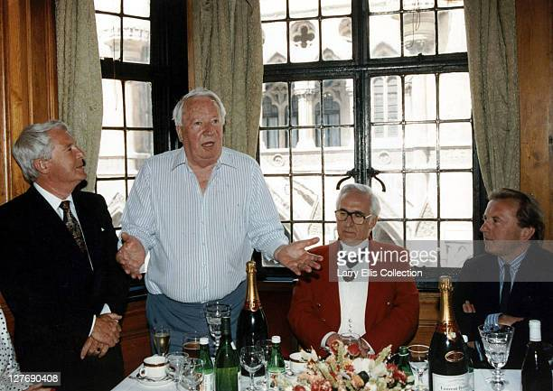 Celebrities at an awards ceremony held at the Wig And Pen Club London 23rd May 1990 From left to right comedian Ernie Wise former Prime Minister...