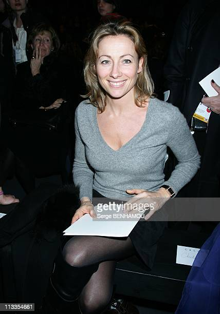 Celebrities At Celine FallWinter 20072008 Ready To Wear Fashion Show In Paris France On March 01 2007 Anne Sophie Lapix