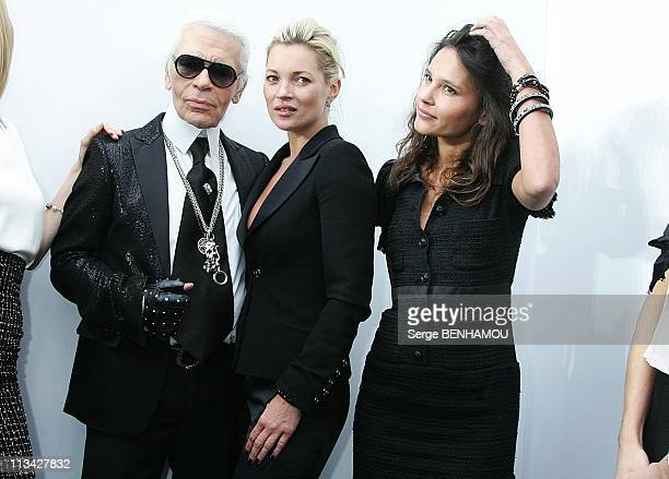 Celebrities At Chanel FallWinter 20092010 Ready To Wear Fashion Show In Paris France On March 10 2009 Karl Lagerfeld Kate Moss Virginie Ledoyen