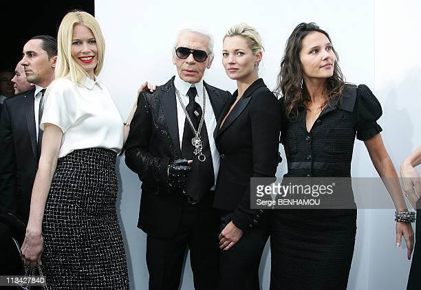 Celebrities At Chanel FallWinter 20092010 Ready To Wear Fashion Show In Paris France On March 10 2009 Claudia Schiffer Karl Lagerfeld Kate Moss...