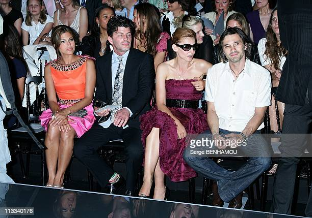 Celebrities At Dior FallWinter 20082009 HauteCouture Fashion Show In Paris France On June 30 2008 Eva Mendes and her friend Clotilde Courau Olivier...