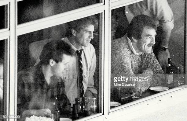 Celebrities at game From left Steve Guttenberg Ted Danson and Tom Selleck watch the Toronto Maple LeafsSt Louis Blues game last night from a private...