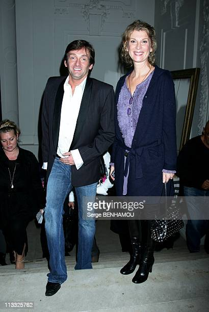 Celebrities At JeanPaul Gaultier Ready To Wear SpringSummer 2008 Fashion Show In Paris France On October 02 2007 Michele Laroque and Pierre Palmade