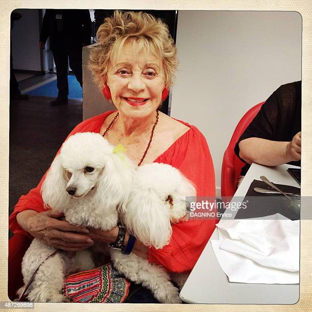Celebrities at the 8th French Speaking Film Festival in Angouleme The singer and actress Annie Cordy with her two dogs Fleecy and Fluffy in Angouleme...