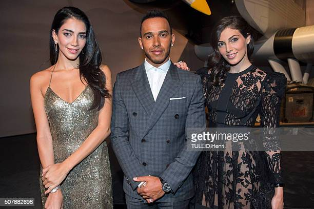 Celebrities at the Evening gala for the luxury watchmaker IWC SCHAFFAUSEN for its new collection Lewis Hamilton with Jessica Kahawaty a...