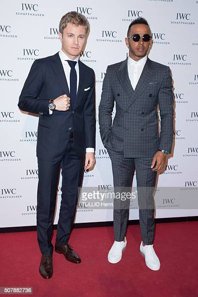 Celebrities at the Evening gala for the luxury watchmaker IWC SCHAFFAUSEN for its new collection Lewis Hamilton and Nico Rosberg