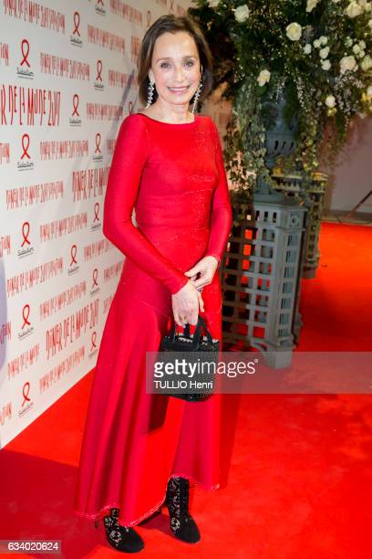 celebrities at the Sidaction 2017 15th edition of the fashion dinner at the Grand Palais in Paris on January 26 2017 the actress Kristin Scott Thomas