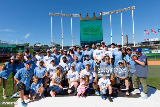 Celebrities gather on the field for a group photo during the Big Slick Celebrity Weekend benefitting Children's Mercy Hospital of Kansas City on June...