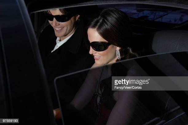 Celebrities in limousine
