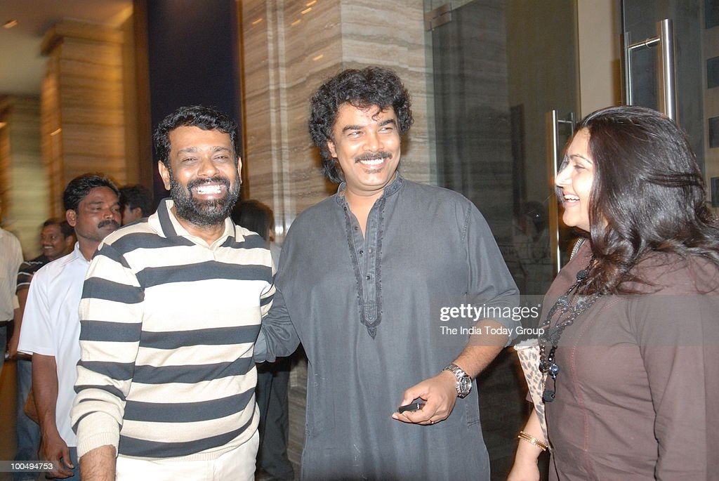 Celebrities Kusbhoo with her actor and director husband C. Sundar (C) and Director Vasanth Kumar at a special screening of the film Kites at INOX in Chennai on Monday, May 24, 2010.