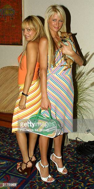 Celebrities Nicole Richie and Paris Hilton attend the Fox 2003 Summer Press Tour at the Hollywood Renaissance Hotel on July 18 2003 in Hollywood...
