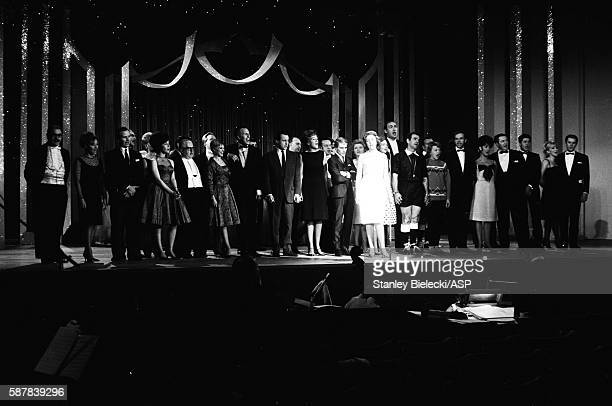 Celebrities on stage for the finale of a variety performance London circa 1965 Line up includes Bruce Foryth Helen Shapiro and Adam Faith
