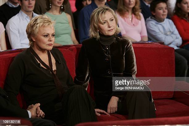Celebrities On Vivement Dimanche Tv Show On December 15 2004 In Paris France Muriel Robin And Marine Jacquemin