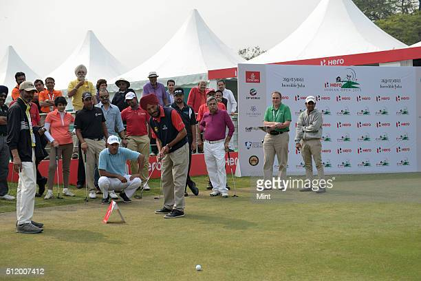 Celebrities playing golf at an event, Hero Indian Open 2015, in Delhi on February 18, 2015 in New Delhi, India.