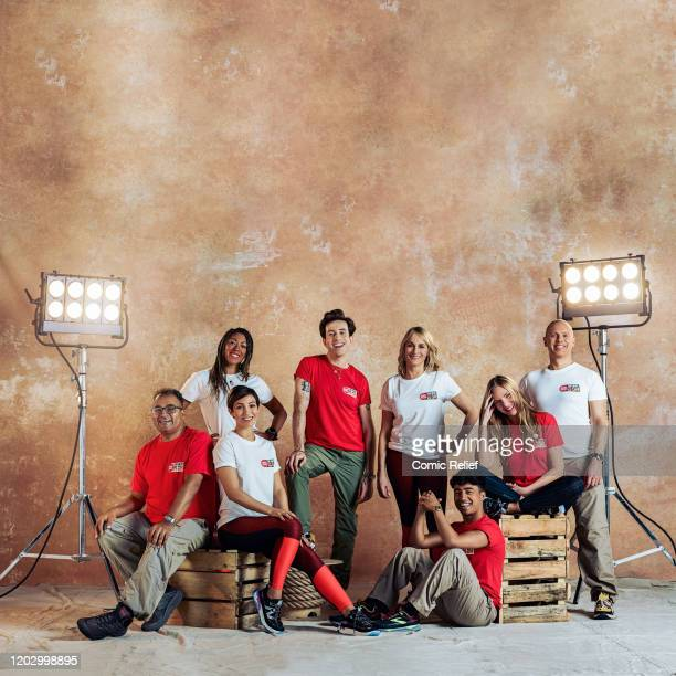 Celebrities pose to the camera to promote the sport relief challenge The Heat is On in which they attempt to traverse the Namib Desert in Namibia by...