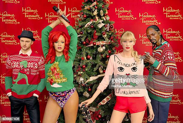 Celebrities Sport Ugly Sweaters this Holiday Season for Good Causes at Madame Tussauds on November 21 2016 in Hollywood California