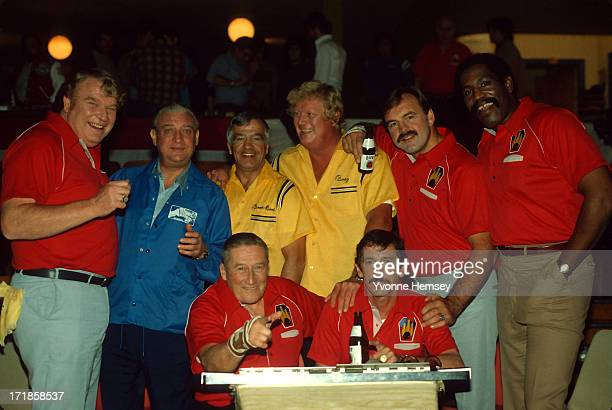 Celebrities tape a Miller Lite commercial in New York City December 2 1981 Seated left to right writer Mickey Spillane and NY Yankees Manager Billy...