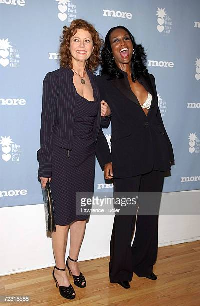 Celebrity activist Susan Sarandon and model Beverly Johnson arrive at the Changing Destiny Awards and 50 Celebrate 50 Gala February 20 2002 in New...