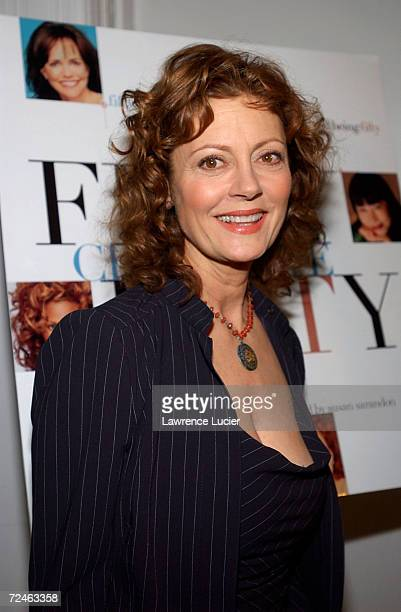 Celebrity activist Susan Sarandon arrives at the Changing Destiny Awards and 50 Celebrate 50 Gala February 20 2002 in New York City The gala benefits...