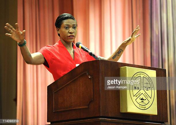 Celebrity AIDS activist Suzanne Africa Engo speaks at the Medgar Evers College 8th Annual HIV/AIDS week at Medgar Evers College CUNY on May 11 2011...