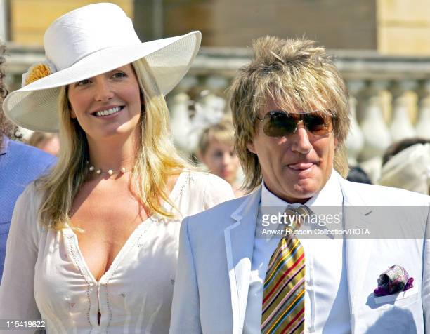 'Celebrity Ambassadors' Rod Stewart and Penny Lancaster at a Buckingham Palace Garden party in London July 14 in honour of Celebrity Ambassadors and...