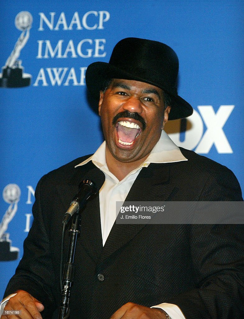 Celebrity and host Steve Harvey speaks during the nomination's press conference for the 34th NAACP Image awards on December 5, 2002 in West Hollywood, California. The 34th NAACP Image Awards will be taped at the Universal Amphitheatre March 8, 2003 and will air on March 13th.