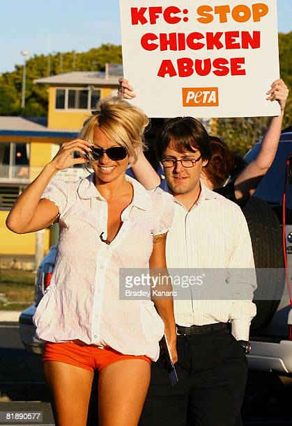 Celebrity and PETA activist Pamela Anderson hand delivers a personal letter addressed to Albert Baladi, the managing director of KFC's parent company...