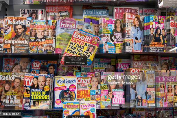 Celebrity and Women's magazines seen on a newsstand in a newsagent store on October 19 20017 in Cardiff United Kingdom