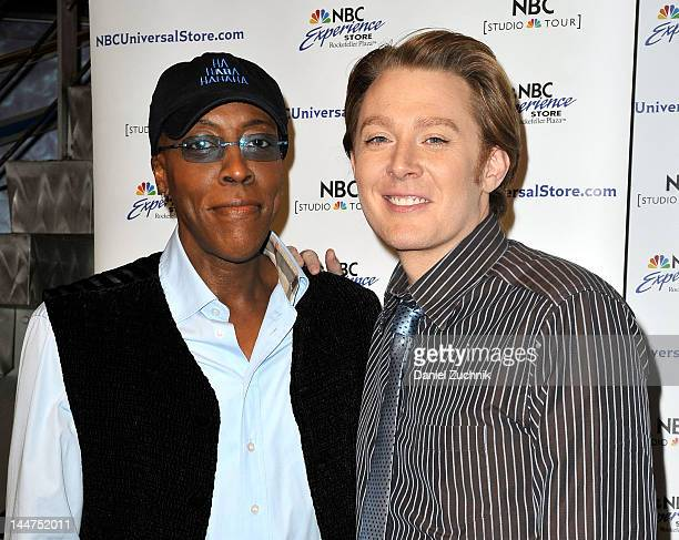 Celebrity Apprentice finalists Arsenio Hall and Clay Aiken visit the NBC Experience Store on May 18 2012 in New York City