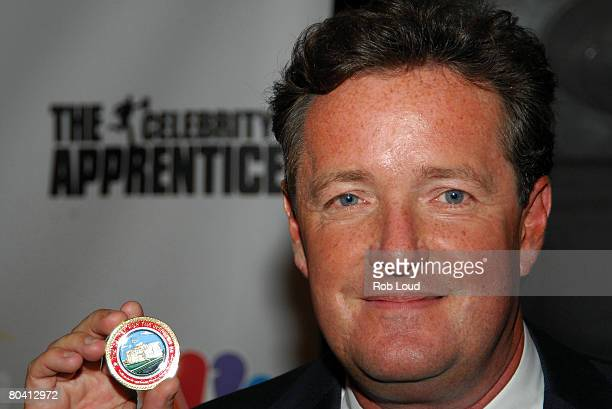 Celebrity Apprentice winner Piers Morgan poses at the Celebrity Apprentice finale at Rock Center Cafe on March 27 2008 in New York City